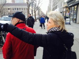 Reverend Kim shows President Reoch around downtown Boston
